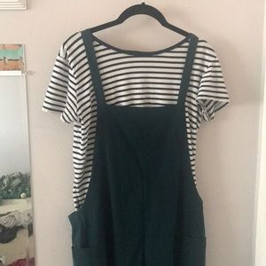 Pants - Loose Fit Cotton Overalls